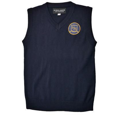 Navy V-Neck Vest with HLS Crest