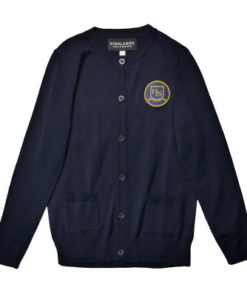 Navy Full Button Sweater with HLS Crest