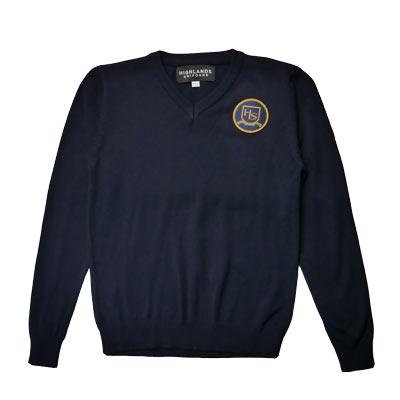 Navy V-Neck Sweater with HLS Crest